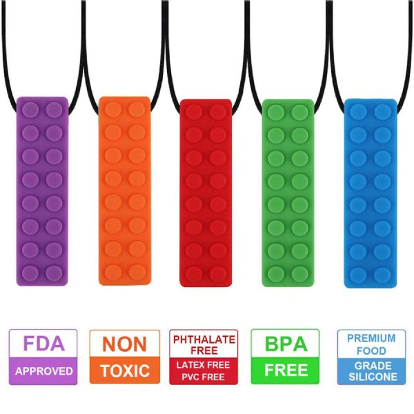 Yellow Sensory Chew Necklace Colorful Silicone  Toy for Autism / ADHD / Stress (1) (2) (3) (4)